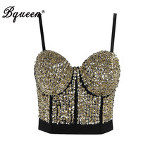 Bqueen 2019 Nieuwe Vestidos Vrouwen Sexy V-hals Kralen Klinknagel Lovertjes Bodycon Korte Fashion Top Party Club Zomer Top Vest INS(China)