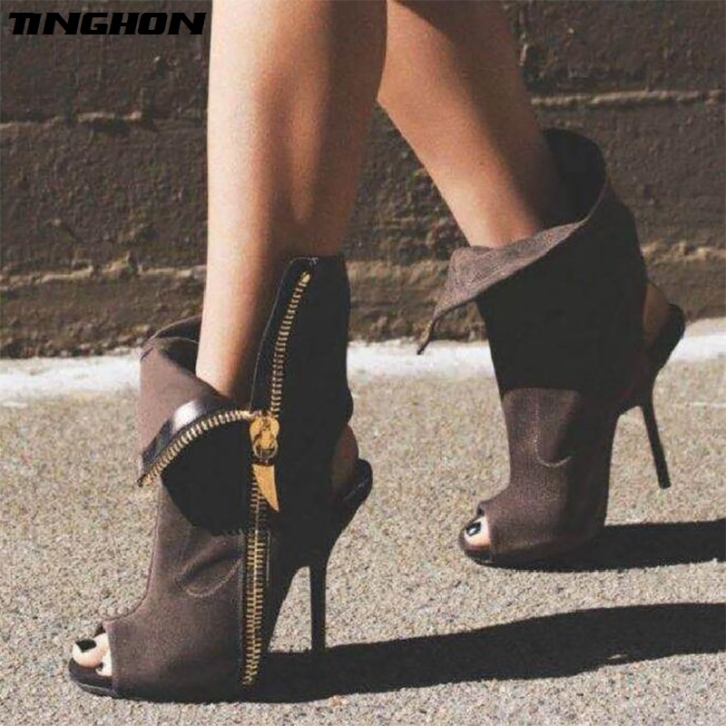 TINGHON Women Sexy Ankle Boots Lapel Front Open Stilettos Pumps Peep Toe Chelsea Woman Ankle Boots Gladiator Sandals in High Heels from Shoes