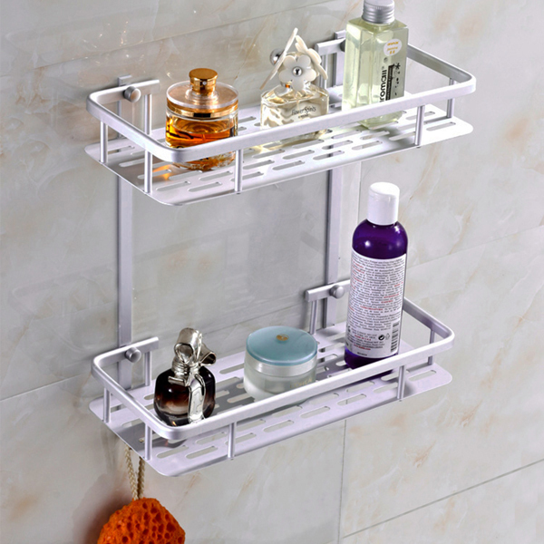 Top Grade Popular Space Aluminum Bathroom Shelf Bath Shampoo Rack Towel  Basket Wall Mounted Bathroom Wall