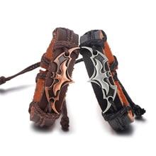 Bat Signs Strand Punk Leather Bracelets for Men Women Fashion Jewelry Bracelet Casual Personality Vintage Wristband