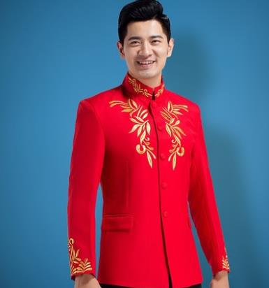Chinese Tunic Blazer Men Formal Dress Latest Coat Pant Red Suit Men Stand Collar Embroidery Marriage Wedding Suits For Men's