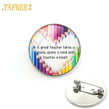TAFREE fashion school charms teachers brooches a great teacher takes a hand opens mind touchs heart badge brooch pins gift CT654