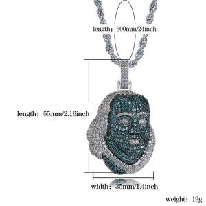 Image 5 - TOPGRILLZ ICEDOUT Blueface Colgante de pieza de Benjamín con cadena de tenis, joyería ostentosa de Hip Hop, cultura urbana