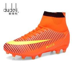 Dudeli ao ar livre homens meninos sapatos de futebol botas de tornozelo alto crianças chuteiras treinamento esporte tênis tamanho 35-45 dropshipping
