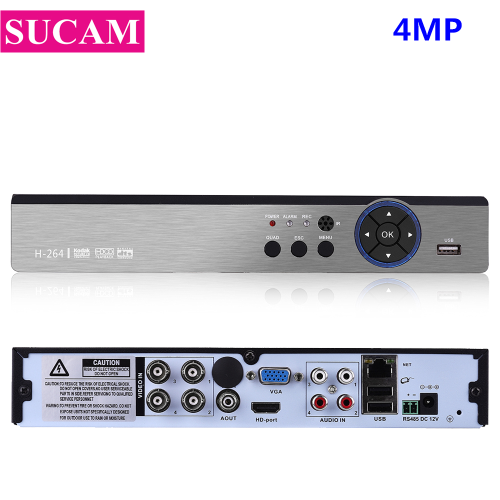 SUCAM 5 in 1 4MP Security CCTV DVR 4CH 8CH AHD H.264 Hybrid NVR Video Recorder For 2MP 4MP AHD TVI CVI Analog IP Cameras smar 5 in 1 hybraid ahd dvr 4ch security cctv nvr h 264 video recorder cctv dvr system support 3g wifi storage for free