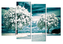 4 Panel Modern Minimalist Landscape Tree Snow Huge Art Print Poster Wall Picture Canvas Painting Home Deco(China)