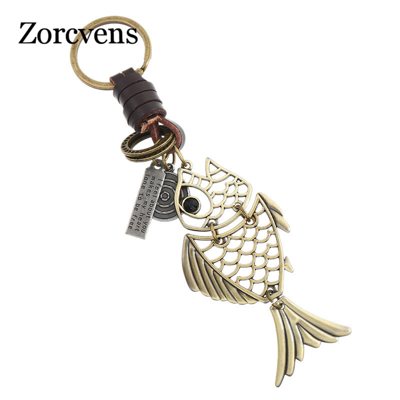 ZORCVENS 2019 Men's Retro Creative Hollow Alloy Fish Keychain Gift Punk Leather Keychain