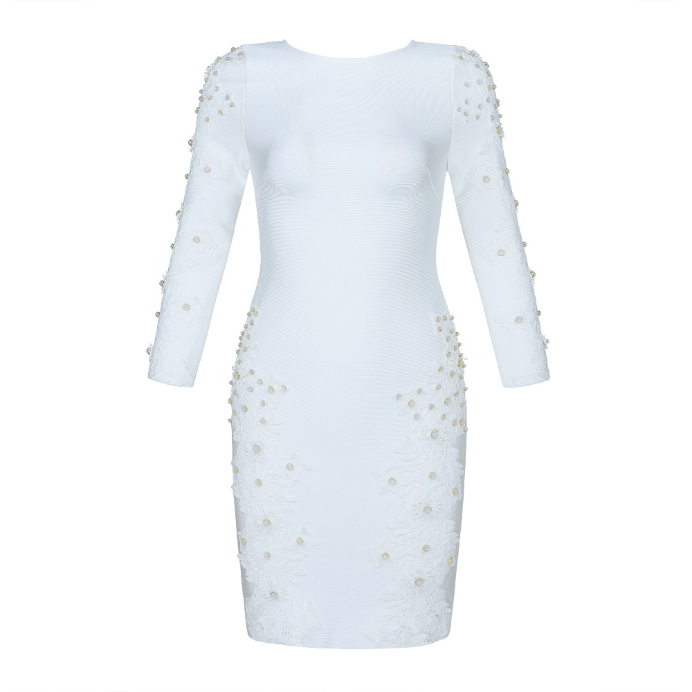 Élégant Femmes Robes En Party Moulante Dresss Night Sexy Blanc Club Celebrity Perles Gros Mode Bandage wkZuPXTOi