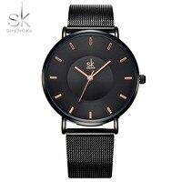 Shengke Fashion Black Women Watches Saat High Quality Ultra Thin Quartz Watch Woman Elegant Dress Ladies
