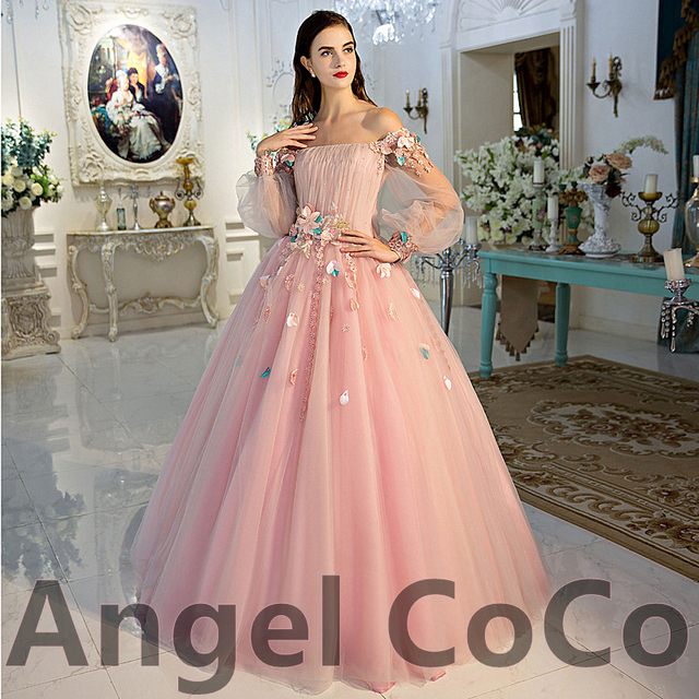 d45d7819922 Pink Tulle Prom Dress 2016 Long Sleeves Flower Evening Dress Sexy Middle  East Saudi Style Lady Party Gowns Private custom