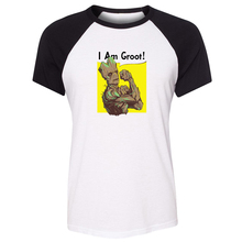 Cotton T shirts women Short Sleeves Guardians of the Galaxy I am Groot Tree people Design