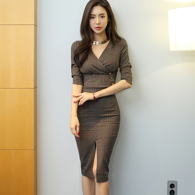Grid Long Sleeve Shirt Two Piece Dress Suits Spring Summer Ol Women