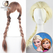 2018 New Long Braiding Elsa Anna Wig Cosplay Anime Synthetic Hair Heat Resistant Halloween Costume Brown Blonde Braided Wigs