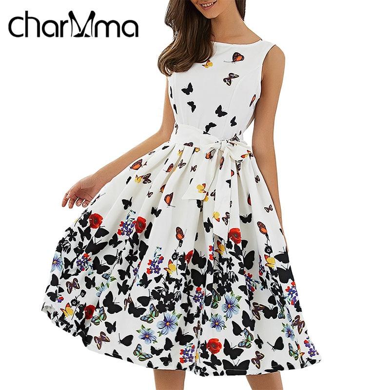 CharMma Плюс Размер Цветочный Принт Лето Midi Dress Женщины 2017 о Образным Вырезом Без Рукавов Sash Бальные Платья Элегантный Плиссированные Пляж Лук Dress