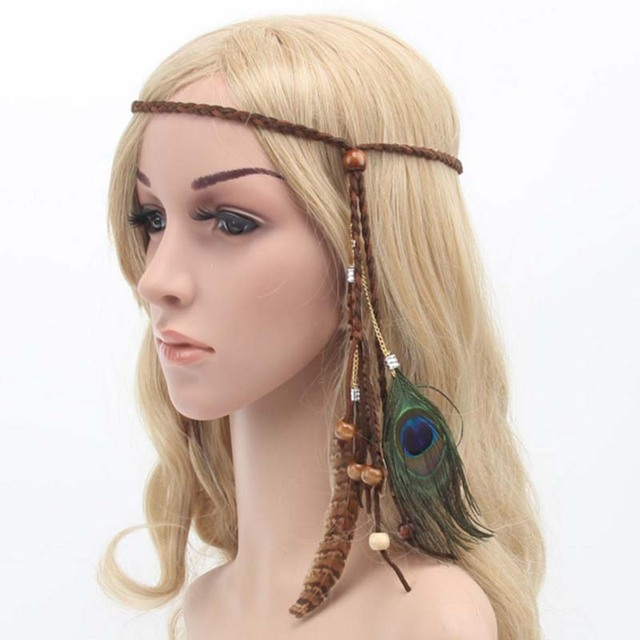 5702ee054e9c6d Frauen Feder Haarschmuck Mode Pfauenfeder Kopf Bands Hippie Kopfschmuck  Perlen Headwear F0232