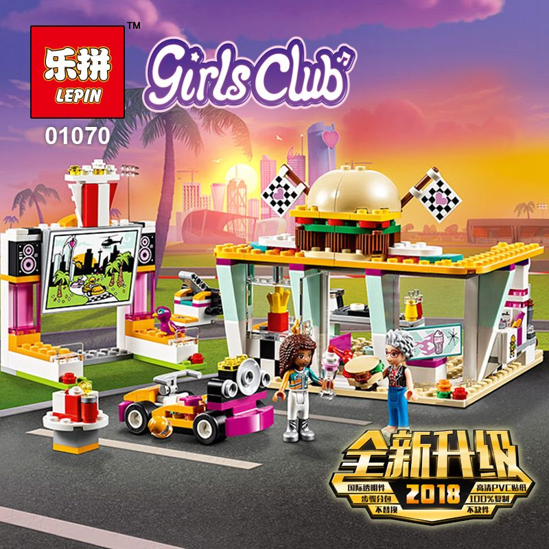 2018 New Lepin 01070 386Pcs Friends Figures Drifting Diner Sets Compatible 41349 Model Building Kits Blocks Bricks Girl Toy Gift цена