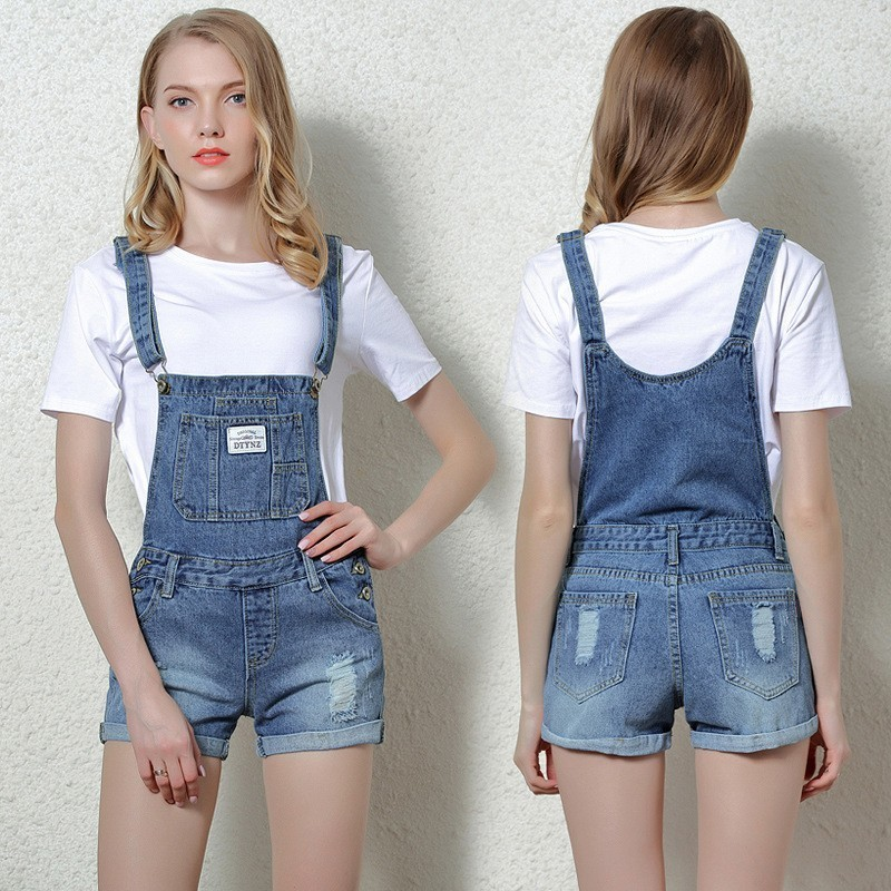 2017 Summer and Autumn holes Gradual Change overalls shortdenim straps shorts flanging denim overalls 9906-1