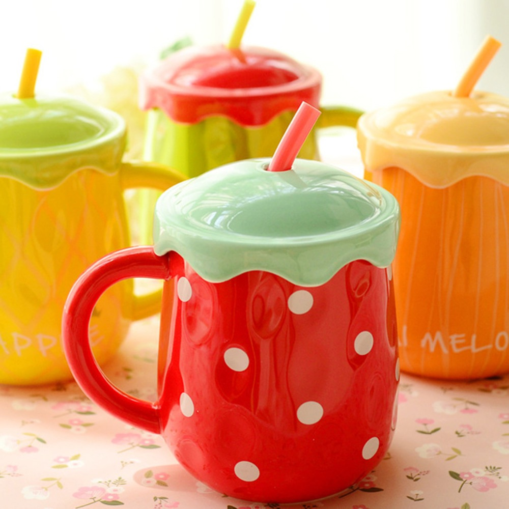 New arrival KEYAMA 1pcs Creative fruit ceramic breakfast milk mugs with lid with spoon Couples coffee cups Cute holiday gifts