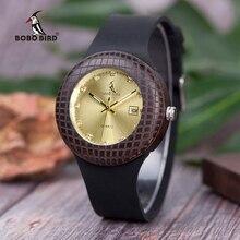 בובו ציפור נשים עץ שעוני יד להראות תאריך קוורץ גבירותיי שעון מיוחד חריטה relogio masculino