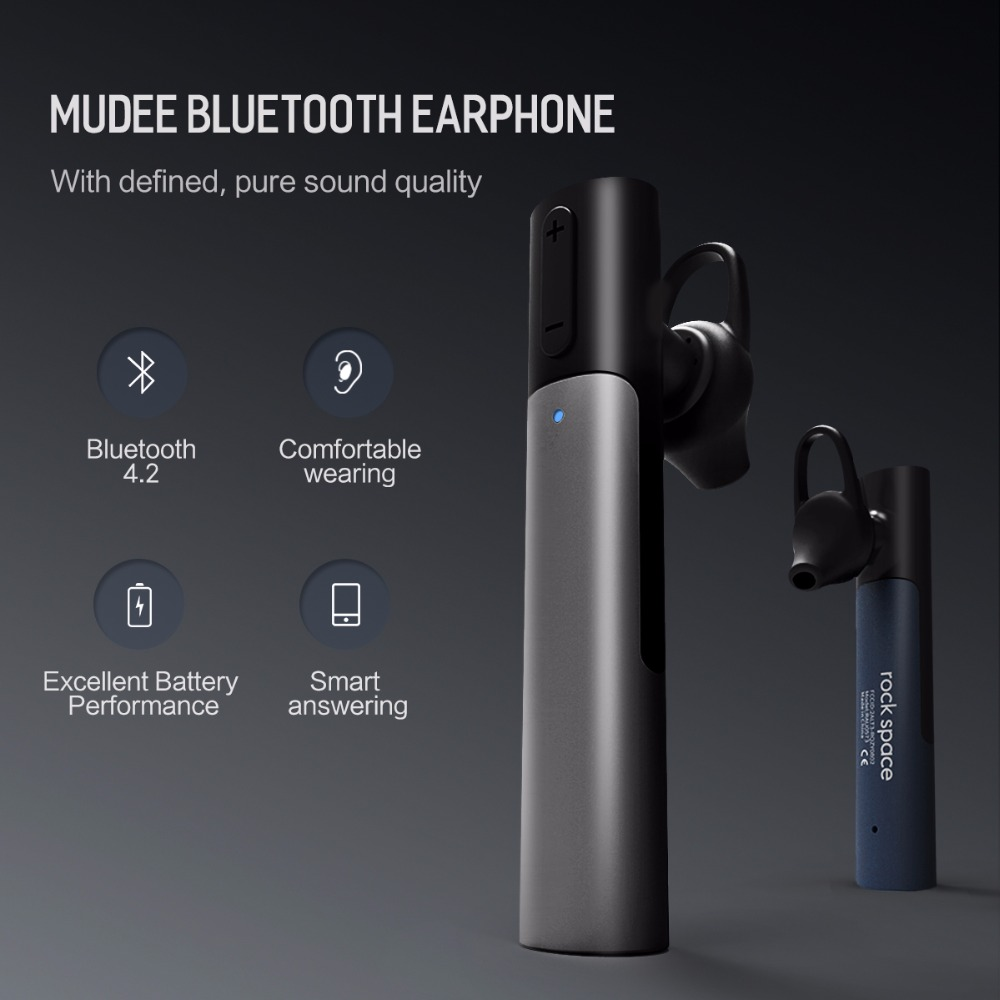 ROCKSPACE New Arrival Business Bluetooth 4.2 Wireless in-ear Earphone Noise Reduction With Microphone Volume Control For Phone