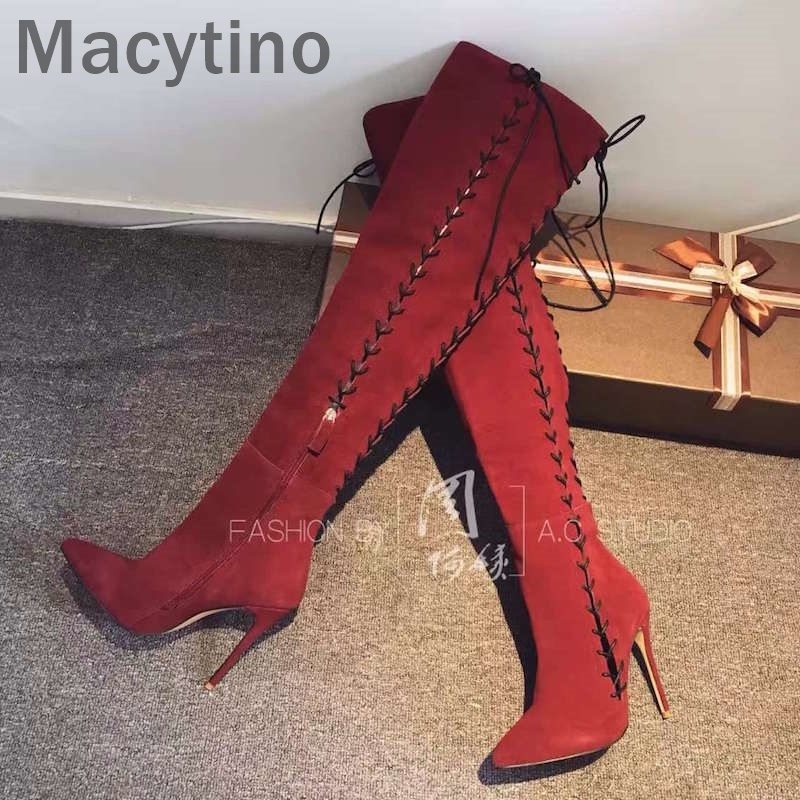 Sexy Suede Lace Up Over The Knee Boots For Women Red Wine Pointed Toe Lace Up High Heels Tall Boots stunning high slit lace up red maxi skirt for women