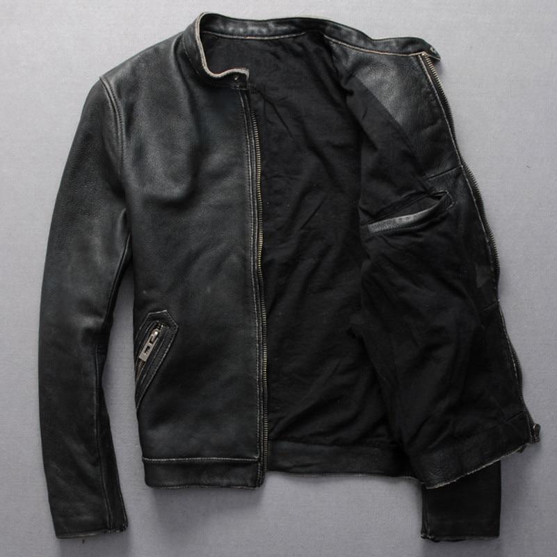New Mens Genuine Lambskin Leather Jacket Slim fit Biker Motorcycle Jacket N182