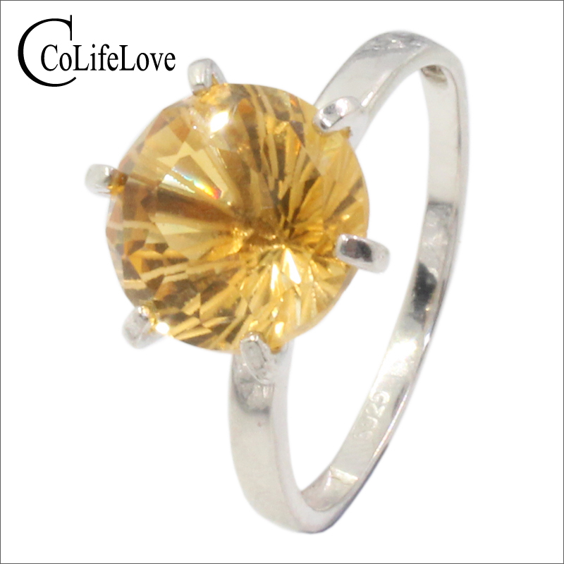 Brilliant round cut natural citrine ring for engagement 8 mm 4 ct flawless citrine ring solid 925 silver yellow crystal ring топ женский insight citrine yellow