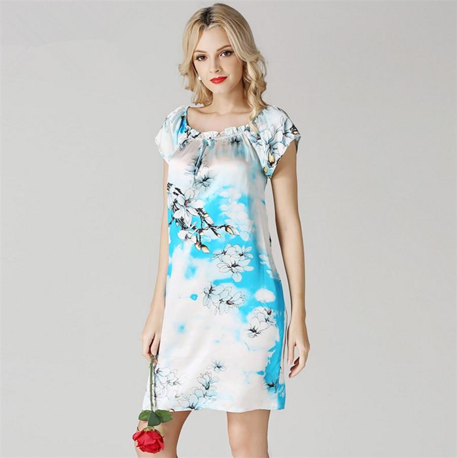 Платье с коротким рукавом из шелка
