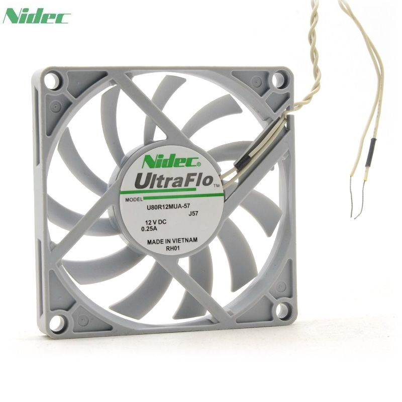 original Nidec U80R12MUA-57 UltraFlo 8010 80MM 8cm 80*80*10mm fan 12V 0.25A Super Silent fan with 2pin электрокамин real flame corsica wt очаг fobos lux bl s