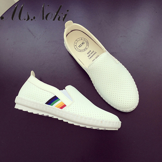 2016 woman casual slip on shoes summer autumn black white women breathable shoes soft flats new comfort  pu shoes