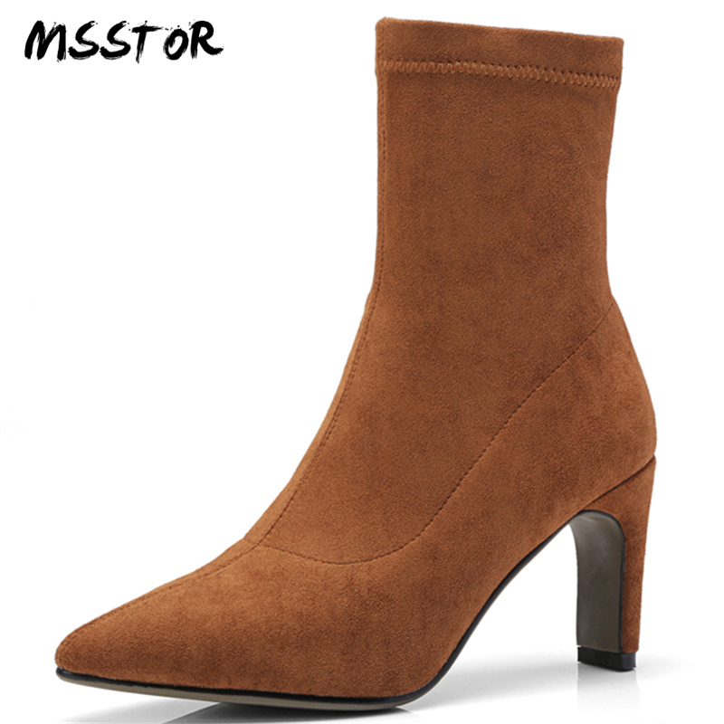 MSSTOR Sewing Black Winter Boots Concise Stretch Fabric Fashion Strange Style Pumps Shoes Pointed Toe Ankle Boots For Women