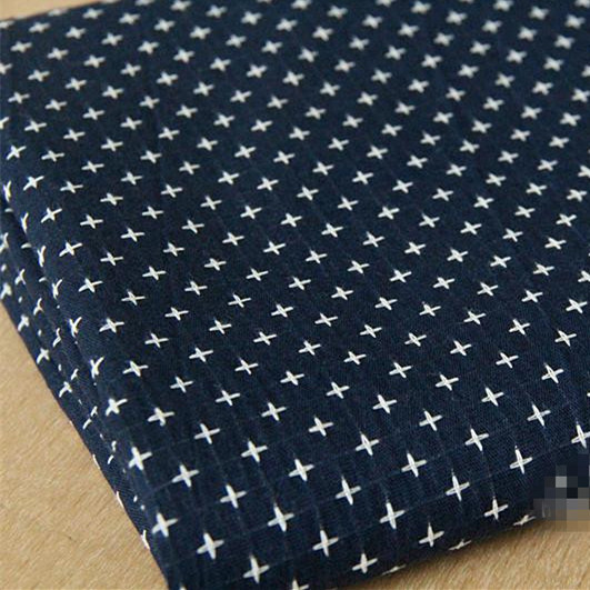 150cm X100cm Dark Blue Cross Cotton Fabrics For Sewing Patchwork Cloth Sofa Upholstery Fabric Cushion