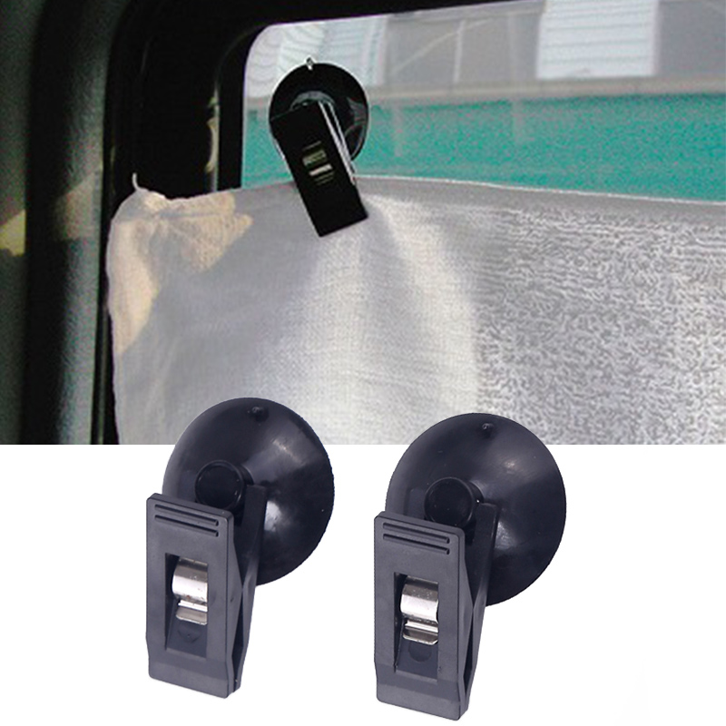 1 Pair Car Interior Window Clip Mount Black Suction Cap Clip Plastic Sucker Removable Holder For Sunshade Curtain Towel Ticket 360 degree mini suction cup holder w clip car charger for motorola moto g black