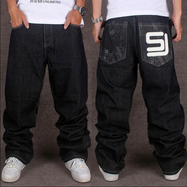 6072f284 Mens Jeans Baggy Loose Denim Hip-Hop Rap Skateboard Pants Streetwear Black  Plus Size D37