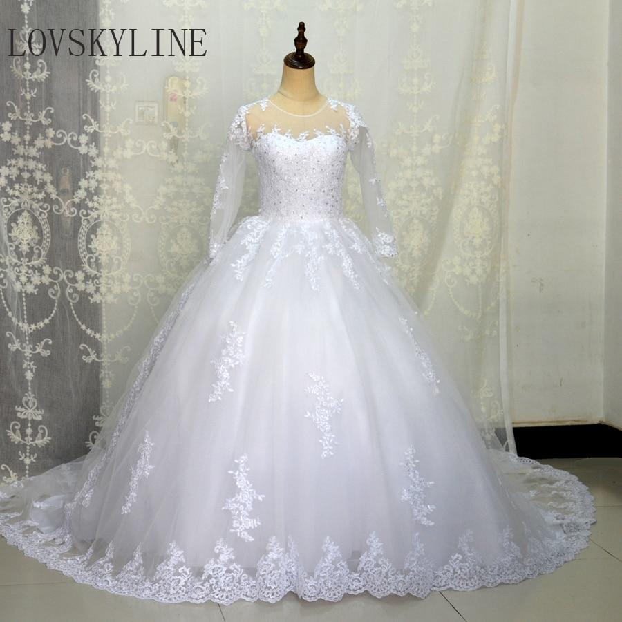 LOVSKYLINE Vestido De Noiva O Neck Lace Ball Gown Wedding Dresses 2018 Long Sleeve Beaded Vintage