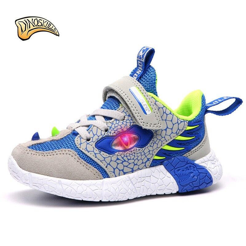 Dinoskulls 2019 enfants chaussures enfants garçon lumière LED Up chaussures garçons baskets Mesch respirant chaussures de course enfant en bas âge Size27-34