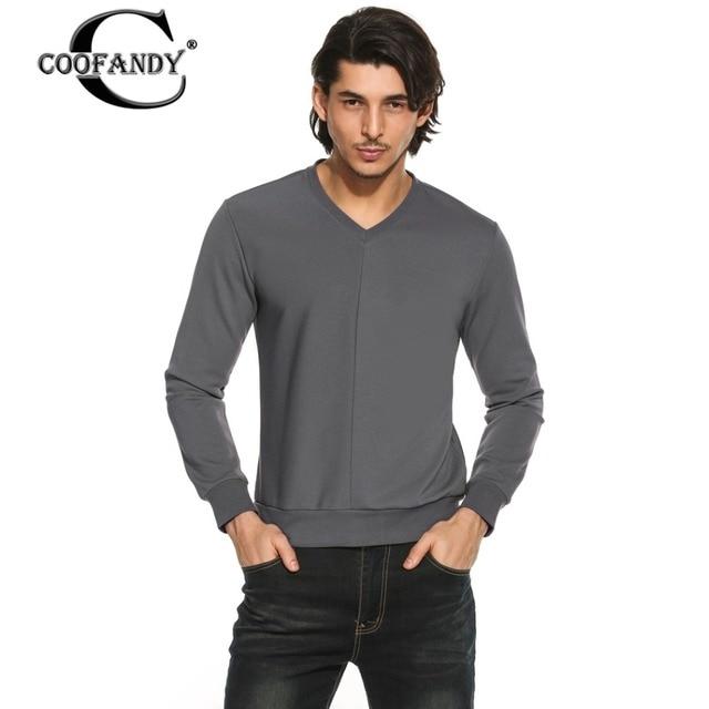 1b655ec25dc53 COOFANDY Men Long Sleeve T-Shirt V-Neck Cotton Loose T Shirt Men Middle  Suture Solid Slim Fit Spring Tshirts Male Tee Tops Black