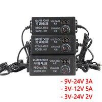 Регулируемый AC к DC переключатель 3 V 12 V 24 V 9 V 2A Универсальный адаптер с дисплеем напряжения экрана регулируемое питание переключателя питани...