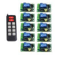 80-250 v 230 v RF 1CH channal interruptor de luz/lâmpada, ON/OFF maneiras de ajustar a saída interruptor remoto sem fio 10 receptores Por Set 4341