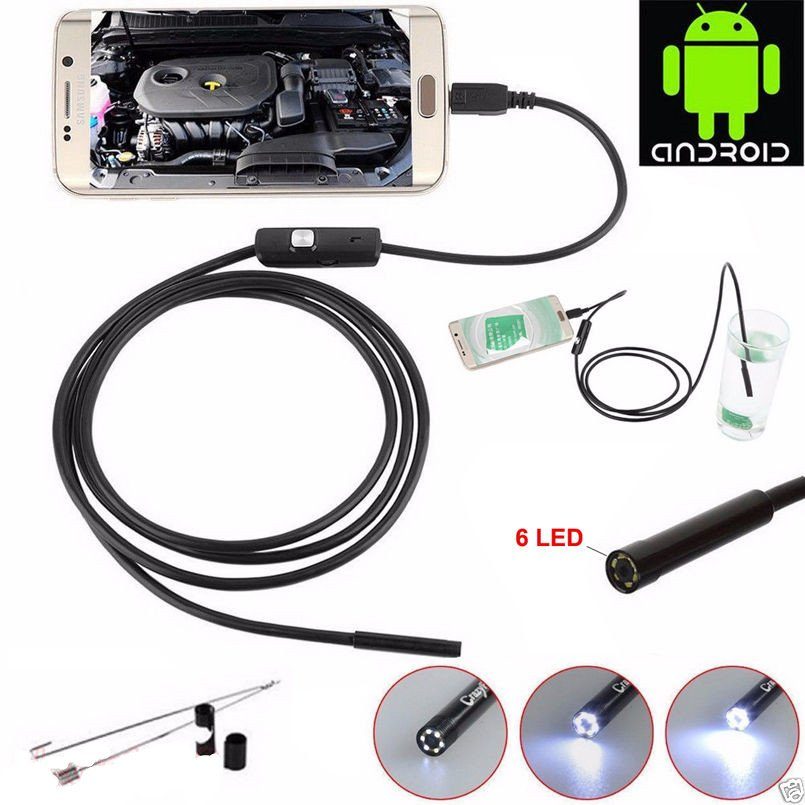 7mm Lens 1M/1.5M/2MCable Waterproof Endoscope Mini USB Inspection Borescope Camera For Android Phones And PC