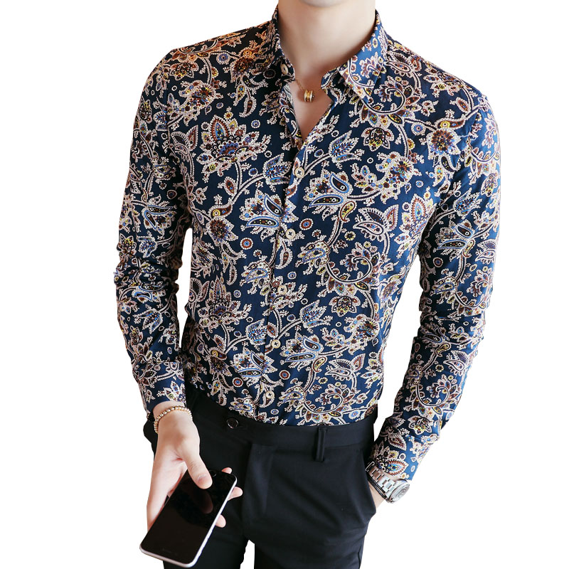 2019 Men's Shirts Retro Floral Printed Man Casual Slim Shirt Fashion Classic Men Dress Shirt  Men's Long Sleeve Brand Clothing