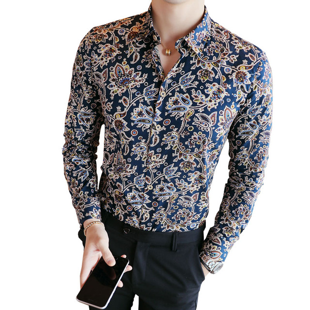 2019 Men's Shirts Retro Floral Printed Man Casual Slim Shirt Fashion Classic Men Dress Shirt  Men's Long Sleeve Brand Clothing