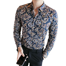 2019 Men's Shirts Retro Floral Printed Man Casual Slim Shirt Fashion
