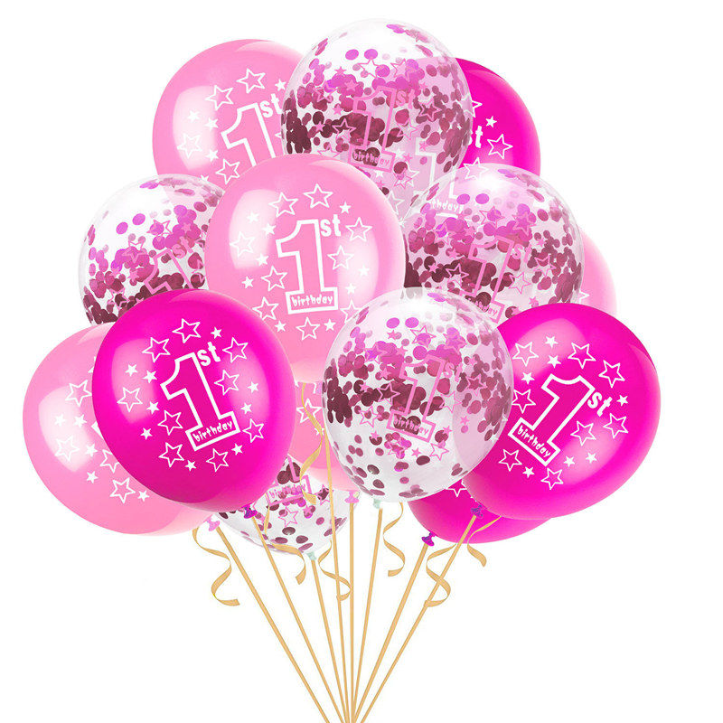 15pcs 1st Birthday Balloons Set Pink Blue Transparent Confetti Latex For Boy Girl 1 Year