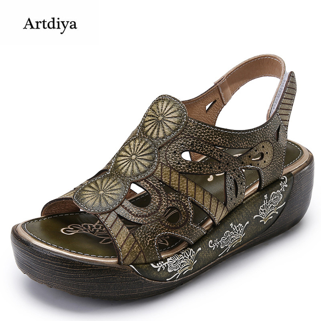 fc2265ef266 Artdiya 2018 Women s Shoes Summer New Handmade Sandals Genuine Leather  Light Comfortable Casual Retro Women Sandals 161-18