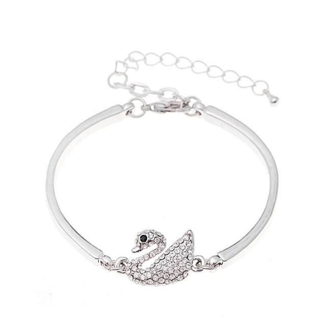 DingTing Luxury classic swan alloy bracelet Austrian crystal European and American fashion jewelry for women Christmas gifts
