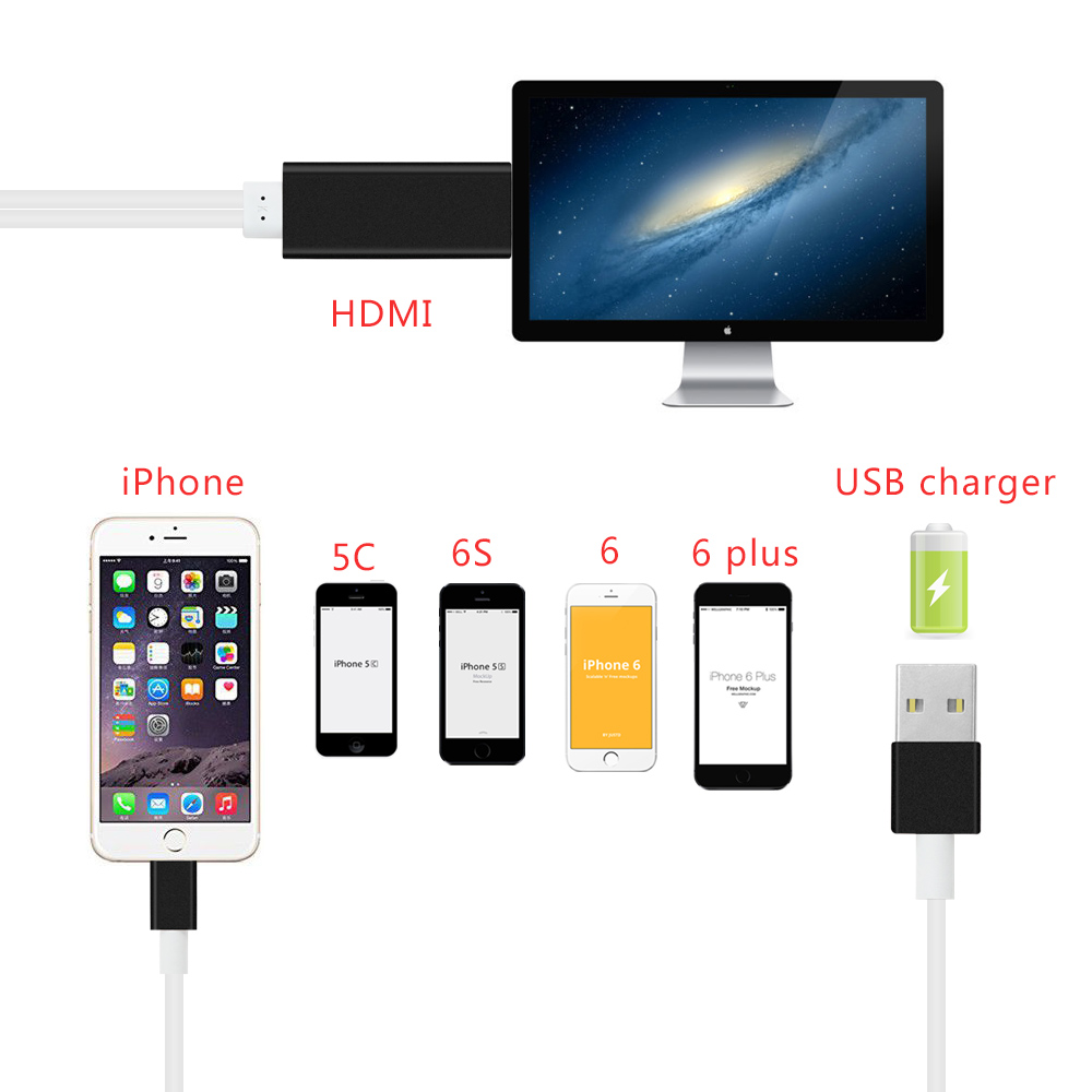 a37f2eec23e HDMI cable for Lightning to HDTV TV HD1080P HDMI cable Adapter for Apple iPHONE  5 5S 5SE 6 6S 6Plus iPHONE 7 7Plus iPad -in Audio & Video Cables from ...