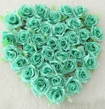 New Arrivals (40*38cm) Mint green Lovely Heart Shape Rose Flowers for party Wedding Car Wall Door Artificial Decorative Flowers rose
