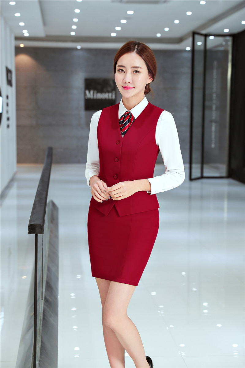 270c263dde8c7 US $33.12 5% OFF|Formal Ladies Red Waistcoat Womens Business Suits with 2  Piece Skirt and Top Sets Vests Women Work Wear Office Uniform Styles-in ...