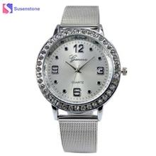 Top Quality Womens Gold / Silver Stainless Steel Band Quartz Wristwatch Rhinestone Elegant Fashion Bracelet Watches Dress Watch